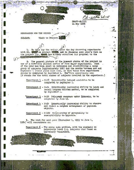 Surviving MK Ultra document of a 1953 experiment